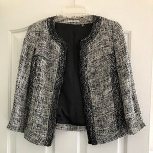 Tahari Tweed Black and Cream Blazer - Size 2